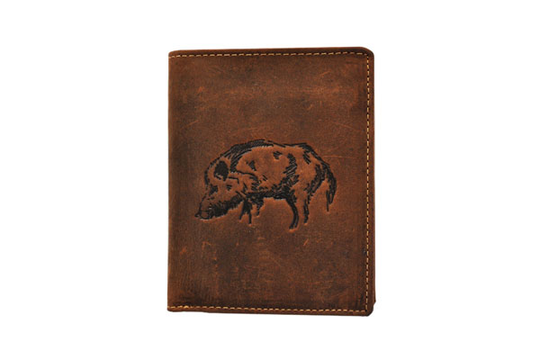 Wallet vertical format with embossed WILD BOAR